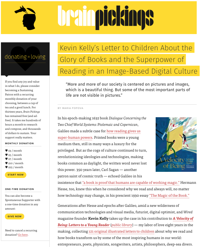 MOMKIN - ÉCRITURE : Kevin Kelly's Letter to Children About the Glory of Books and the Superpower of Reading in an Image-Based Digital Culture